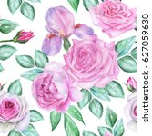 seamless floral pattern with... | Shutterstock . vector #627059630