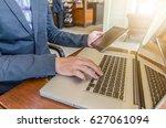 business man working using...   Shutterstock . vector #627061094