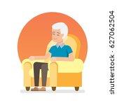 happy lovely senior man sitting ...   Shutterstock .eps vector #627062504
