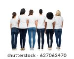 Small photo of diversity, race, ethnicity and people concept - international group of different women in white blank t-shirts from back
