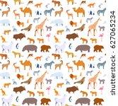 seamless pattern zoo animals... | Shutterstock .eps vector #627065234