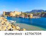 boats in a port in kyrenia ... | Shutterstock . vector #627067034