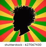 rastaman on grunge rastafarian... | Shutterstock .eps vector #627067430