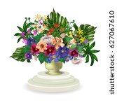 beautiful bouquet with various... | Shutterstock .eps vector #627067610