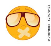 emoticon with adhesive bandages ... | Shutterstock .eps vector #627070436