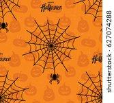 happy halloween seamless... | Shutterstock .eps vector #627074288