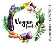 vegan watercolor logo with... | Shutterstock .eps vector #627075746