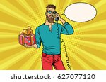 hipster with a gift of talking... | Shutterstock .eps vector #627077120