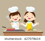 cute boy and girl cooking in... | Shutterstock .eps vector #627078614