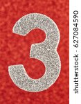 number three silver color over... | Shutterstock . vector #627084590