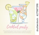 set of popular alcohol cocktail.... | Shutterstock .eps vector #627087398