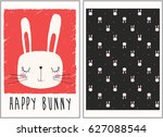 cute bunny illustration and... | Shutterstock .eps vector #627088544