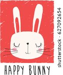 cute bunny illustration for... | Shutterstock .eps vector #627092654