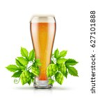 glass of light lager beer with... | Shutterstock .eps vector #627101888
