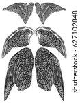 heraldic wings set for tattoo...   Shutterstock .eps vector #627102848