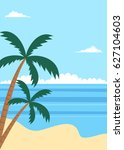 tropical summer beach poster... | Shutterstock . vector #627104603