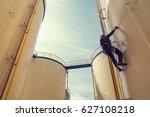 male worker rope access ... | Shutterstock . vector #627108218