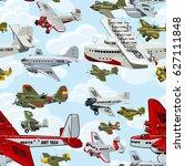 cartoon retro airplanes 1930s... | Shutterstock . vector #627111848