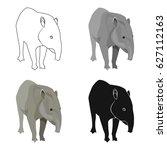 mexican tapir icon in cartoon...   Shutterstock .eps vector #627112163