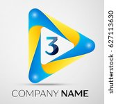 number three logo symbol in the ... | Shutterstock . vector #627113630