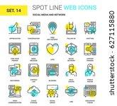 vector set of social media and... | Shutterstock .eps vector #627115880
