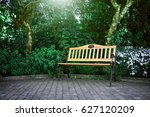 wooden bench in the park | Shutterstock . vector #627120209