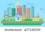 urban and village landscape... | Shutterstock . vector #627120254