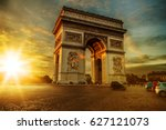 view of arc de triomphe  place... | Shutterstock . vector #627121073