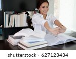 asian woman stretching after... | Shutterstock . vector #627123434