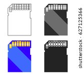 sd card icon in cartoon style...