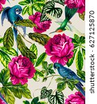 amazing tropical pattern with... | Shutterstock . vector #627125870