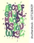 graffiti alphabet  font vector  ... | Shutterstock .eps vector #627128429