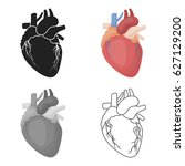 heart icon in cartoon style... | Shutterstock .eps vector #627129200