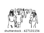 crowd walking ink sketch on... | Shutterstock . vector #627131156