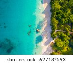 aerial  anse lazio  praslin...   Shutterstock . vector #627132593