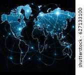world map on a technological... | Shutterstock . vector #627133100