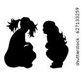 vector silhouette of girl on... | Shutterstock .eps vector #627133259