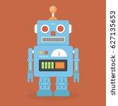 hipster vintage robot. retro... | Shutterstock .eps vector #627135653