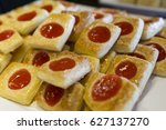 strawberry danish pie ready to... | Shutterstock . vector #627137270
