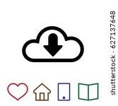 cloud arrow download vector... | Shutterstock .eps vector #627137648