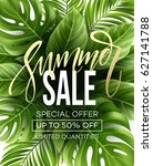 sale banner  poster with palm... | Shutterstock .eps vector #627141788