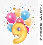 happy birthday balloon with... | Shutterstock .eps vector #627150440