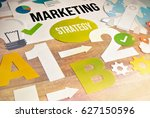 marketing strategy concept... | Shutterstock . vector #627150596