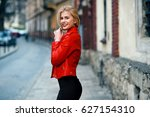beautiful attractive smiling... | Shutterstock . vector #627154310