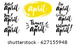 hello   bye april spring... | Shutterstock .eps vector #627155948