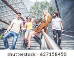 group of friends bonding and... | Shutterstock . vector #627158450