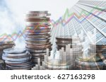 double exposure of coins stack... | Shutterstock . vector #627163298