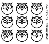owl expression smiley icon set. ... | Shutterstock .eps vector #627166790