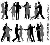 black set silhouettes dancing...   Shutterstock . vector #627169610