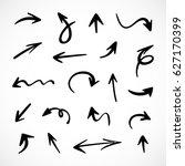 hand drawn arrows  vector set | Shutterstock .eps vector #627170399